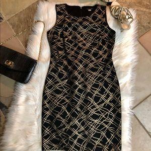Tommy Hilfiger Sz. 6 NWOT black/gold bodycon dress